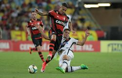 Paolo Guerrero. Rio de Janeiro, April 8, 2017.nFlamengo soccer player, Paolo Guerrero, in action in the Flamengo Vs. Vasco game at the Maracanã Stadium in Rio Stock Images