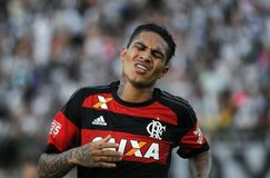 Paolo Guerrero. Rio de Janeiro, April 8, 2017.nFlamengo soccer player, Paolo Guerrero, in action at the Flamengo Vs. Vasco game at the Maracanã Stadium in Rio Royalty Free Stock Photography