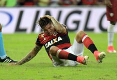 Paolo Guerrero. Rio de Janeiro, May 7, 2017.nFlamengo soccer player, Paolo Guerrero, in action at Flamengo Vs. Fluminense game at the Maracanã Stadium in Rio de Royalty Free Stock Image