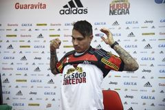 Paolo Guerrero soccer player. Rio de Janeiro- Brazil, press conference of the soccer club player and the Peruvian soccer team Paolo Guerrero Royalty Free Stock Image