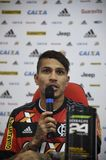 Paolo Guerrero soccer player. Rio de Janeiro- Brazil, press conference of the player of the Flamengo soccer club and the Peruvian soccer team Paolo Guerrero Royalty Free Stock Image