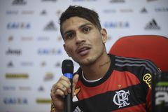 Paolo Guerrero soccer player. Rio de Janeiro- Brazil, press conference of the player of the Flamengo soccer club and the Peruvian soccer team Paolo Guerrero Royalty Free Stock Photography