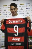 Paolo Guerrero soccer player. Rio de Janeiro- Brazil, press conference of the soccer club player and the Peruvian soccer team Paolo Guerrero Royalty Free Stock Photos