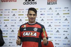 Paolo Guerrero soccer player. Rio de Janeiro- Brazil, press conference of the soccer club player and the Peruvian soccer team Paolo Guerrero Stock Photography