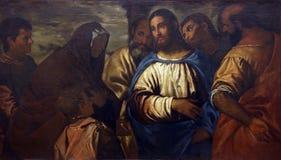 Paolo Veronese Christ e a esposa de Zebedee fotos de stock