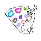 Paon étonné par vecteur de bande dessinée avec la queue colorée d'ensemble de coeur illustration libre de droits