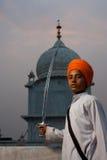 Paonta Sahib Sikh Boy Saffron Turban Stock Photography