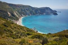 Paorama of Petani Beach, Kefalonia, Ionian Islands, Greece Stock Photography