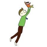 Papà adorabile del fumetto disegnato a mano Immagini Stock