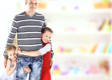 Papà con le bambine Immagine Stock