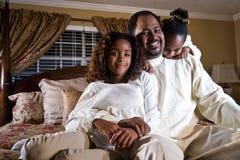 Papà con le sue bambine Fotografia Stock