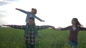 Papá alegre con el hijo en hombros y la madre con los brazos al paseo lateral en campo verde de la colza contra el cielo almacen de metraje de vídeo