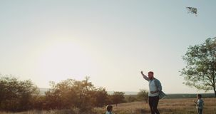 Papá con sus dos hijos que juegan con una cometa en el medio de campo de flor 44 k Cámaras lentas almacen de video