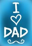 Papá del amor de la postal I Corazón del símbolo, bigote Cepillo áspero ilustración del vector