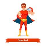 Papá del super héroe Padre que toma el cuidado de dos hijos ilustración del vector