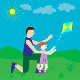 Papá e hija que juegan con una cometa libre illustration