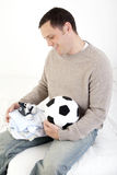 Papá emocionado sobre bebé Foto de archivo libre de regalías
