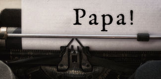 Papá escrita no papel fotografia de stock