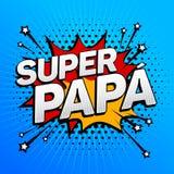 Papá estupenda, texto español del papá estupendo, celebración del padre stock de ilustración