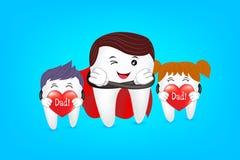 Papá estupendo con la familia, diseño de caracteres del diente