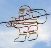 Papá Noel afiló la luz de la cuerda del tubo Fotografía de archivo libre de regalías