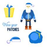 Papá Noel azul divertido, sombrero, regalo, ejemplo del vector del bolso Chri Fotografía de archivo