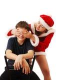 Papá Noel bonito que juega con el muchacho. Imagen de archivo libre de regalías
