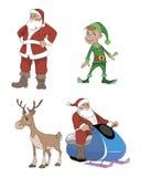 Papá Noel, ciervo, duende Imagen de archivo libre de regalías