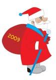 Papá Noel con el bolso stock de ilustración