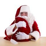 Papá Noel con el bolso grande Fotos de archivo