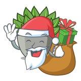 Papá Noel con el cactus del echeveria de la historieta del regalo en jardín del cactus libre illustration