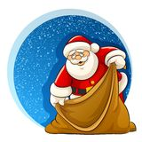 Papá Noel con el saco vacío para los regalos de la Navidad Foto de archivo