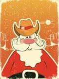 Papá Noel con el sombrero de vaquero. Tarjeta retra Fotos de archivo libres de regalías