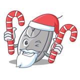 Papá Noel con estilo de la historieta de la mascota del ratón del caramelo ilustración del vector