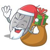 Papá Noel con estilo de la historieta de la mascota del ratón del regalo ilustración del vector
