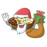 Papá Noel con gratén del regalo se cuece en horno de la historieta ilustración del vector