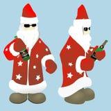 Papá Noel con la botella de champán stock de ilustración