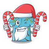 Papá Noel con la suspensión hawaiana de las camisas de la historieta del caramelo detrás de la puerta ilustración del vector