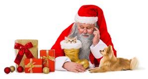 Papá Noel con los animales domésticos y los regalos imagenes de archivo