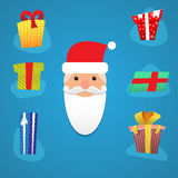 Papá Noel con los diversos presentes Imagen de archivo libre de regalías