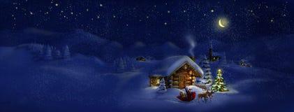 Papá Noel con los presentes, ciervos, árbol de navidad, choza. Paisaje del panorama