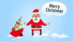 Papá Noel con los regalos Vídeo de colocación de la animación en estilo plano Saludo de la e-tarjeta con Feliz Navidad del texto almacen de video