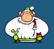 Papá Noel con los regalos y la bebida Fotografía de archivo libre de regalías