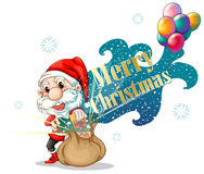 Papá Noel con un bolso marrón lleno de regalos Foto de archivo