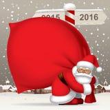 Papá Noel con un saco ilustración del vector