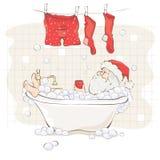 Papá Noel después del trabajo ilustración del vector