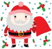 Papá Noel divertido con el bolso de regalos Imagen de archivo