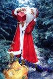 Papá Noel en bosque del invierno Imágenes de archivo libres de regalías