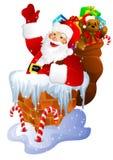 Papá Noel en chimenea stock de ilustración