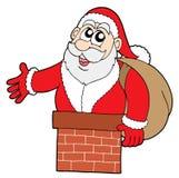 Papá Noel en chimenea Fotos de archivo libres de regalías
